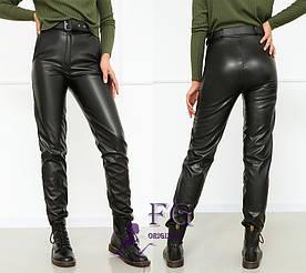 """Женские брюки кожаные на флисе """"Muse""""  Батал 50 #A/S"""