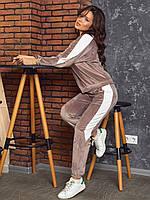 Женский велюровый спортивный костюм 1179 (42-44; 44-46; 46-48; 48-50) (цвета: мокко, черный, сирень, синий) СП, фото 1