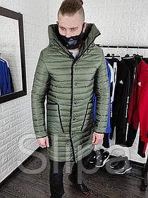 Удлинённое стёганое пальто из плащевки , цвета хаки