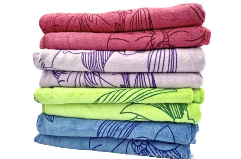 Банные полотенца «Цветы» из микрофибры 70х140 см, - упаковка/8шт