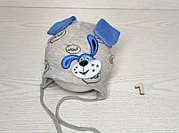 Шапка для мальчика трикотажная с собачкой и ушками Размер 40-42 см Возраст 1-3 месяцев, фото 2