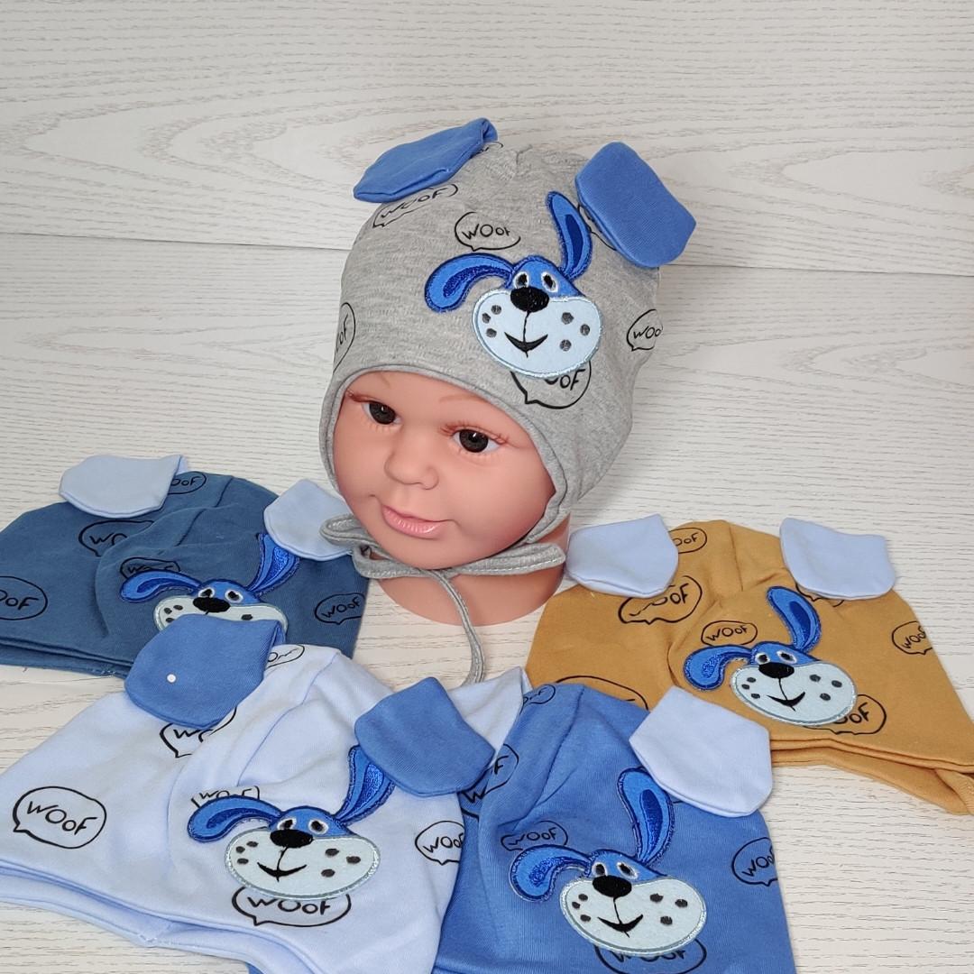 Шапка для мальчика трикотажная с собачкой и ушками Размер 40-42 см Возраст 1-3 месяцев