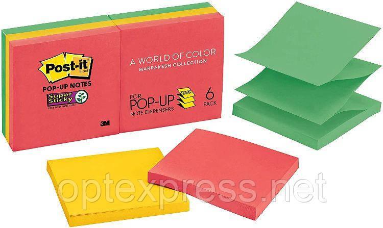 3М Post-It Z-образні стікери R330 76х76 мм  6 блоків по 90л різнокольорові