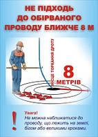 Плакат по охране труда «Не подходи к оборванному проводу ближе 8 м»