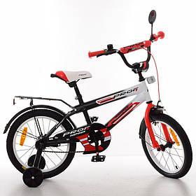 """Велосипед дитячий Profi """"Inspirer"""", 18 """", чорно-біло-червоний, світло, дзвінок, дзеркало, SY1855"""