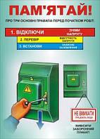 Плакат по охране труда «Перед началом работы отключи электроустановку и вывеси плакат!»