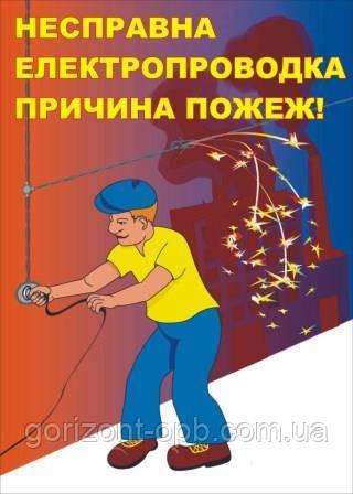 Плакат по пожарной безопасности «Неисправная электропроводка – причина пожара!»