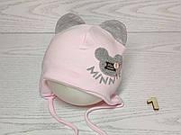 Шапка для девочки с ушками Мини Маус на завязках трикотажная Размер 42-44 см, фото 2