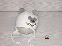 Шапка для девочки с ушками Мини Маус на завязках трикотажная Размер 42-44 см, фото 3