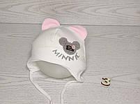 Шапка для девочки с ушками Мини Маус на завязках трикотажная Размер 42-44 см, фото 4