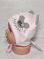Шапка для девочки с ушками Мини Маус на завязках трикотажная Размер 42-44 см, фото 6