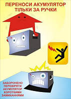 Плакат по охране труда «Переноси аккумулятор только за ручки»