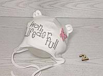 Шапка для девочки с бабочкой блеск на завязках трикотажная Размер 44-46 см, фото 3