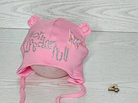 Шапка для девочки с бабочкой блеск на завязках трикотажная Размер 44-46 см, фото 5