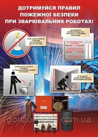 Плакат по охране труда «Соблюдай правила пожарной безопасности при сварочных работах»