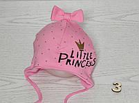 Шапка для девочки с бантиком принцесса на завязках трикотажная Размер 40-42 см, фото 4