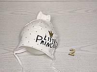 Шапка для девочки с бантиком принцесса на завязках трикотажная Размер 40-42 см, фото 3