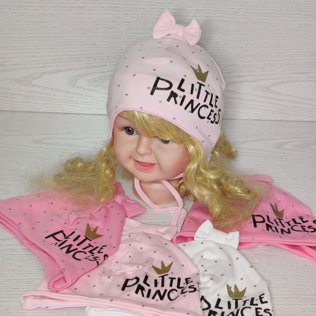 Шапка для девочки с бантиком принцесса на завязках трикотажная Размер 40-42 см