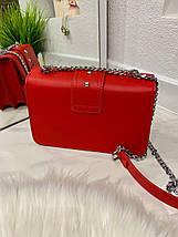 Жіноча червона шкіряна (еко шкіра) міні сумочка - клатч на ланцюжку через плече Пінко. Міні сумка на плече, фото 2