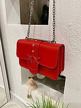 Жіноча червона шкіряна (еко шкіра) міні сумочка - клатч на ланцюжку через плече Пінко. Міні сумка на плече, фото 3