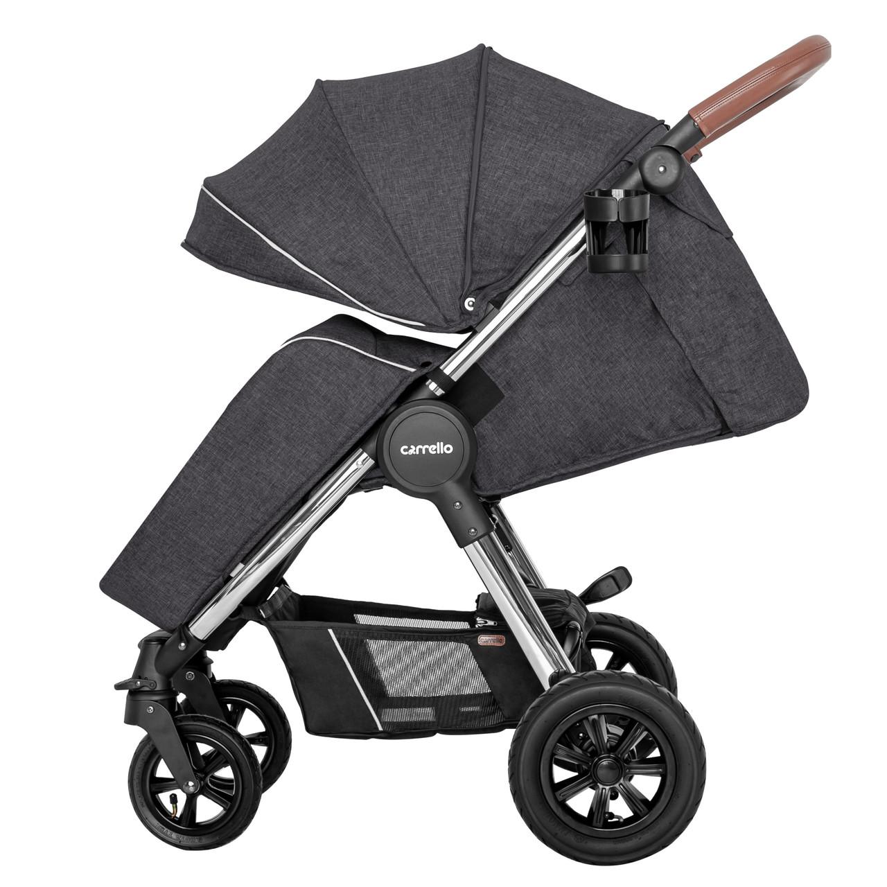 Коляска детская прогулочная надувные колеса CARRELLO Supra CRL-5510 Solid Grey +дождевик L