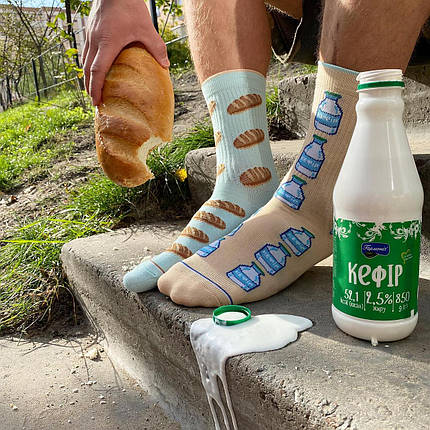 """Шкарпетки Дід Носкарь чоловічі 41-45 """"Батон та кефір"""" бежево-блакитні, фото 2"""