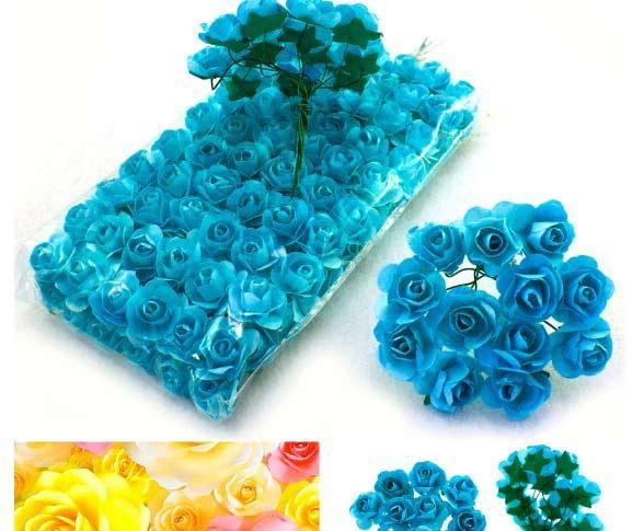 (ОПТ,12 букетиков) Роза бумажная 1,5см (144 шт) Цвет - Бирюзовый