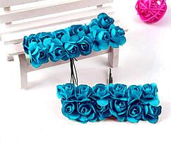 Роза бумажная 1,5см (букет 12шт) Цвет - Бирюзовый