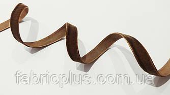 Тесьма велюровая бархатная 1 см коричневая