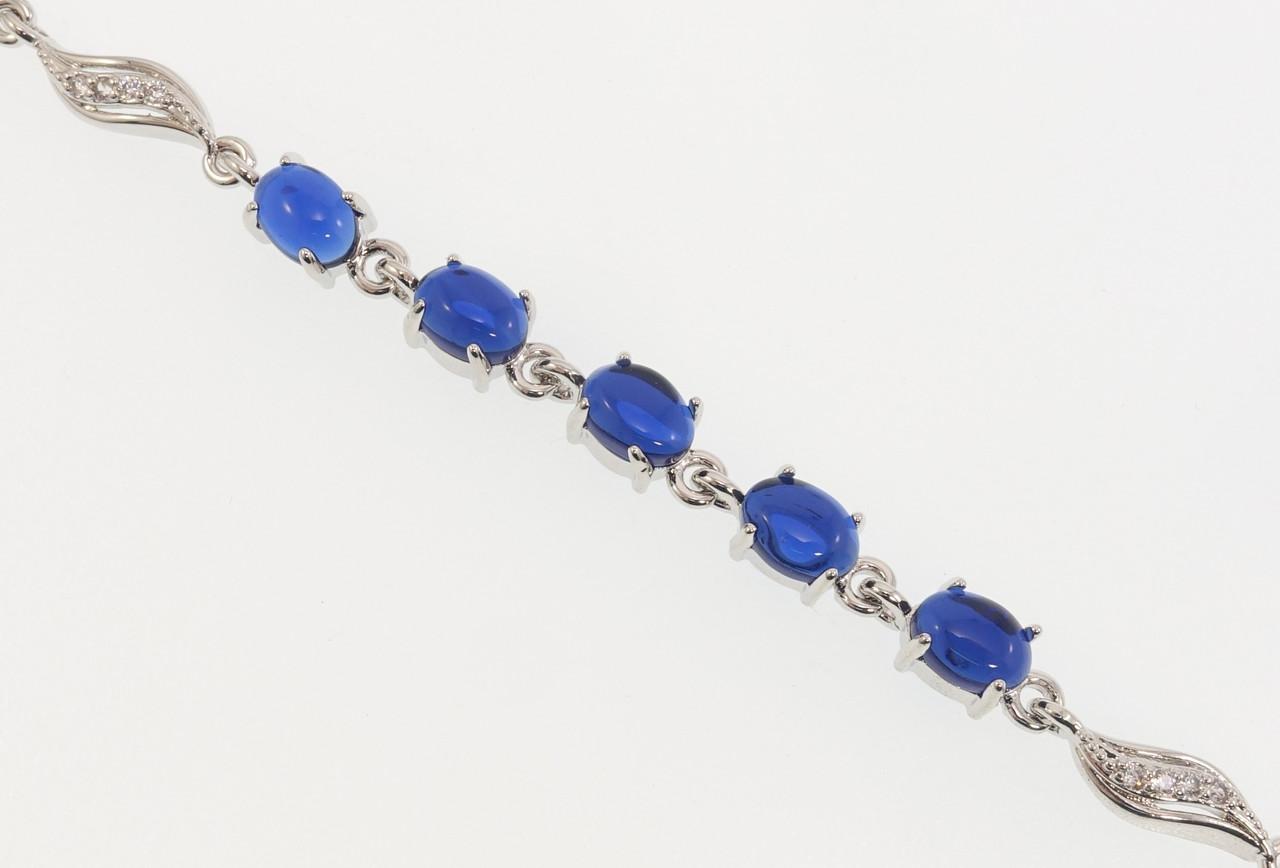 """Браслет СМ Родий """"Дорожка синих кристаллов с звеньями лепестками"""" размер 19см х 5мм"""