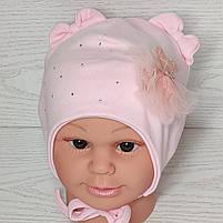 Шапка для девочки с медвежонком в юбке на завязках трикотажная Размер 40-42 см, фото 7