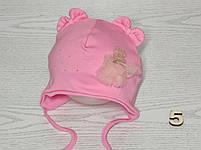 Шапка для девочки с медвежонком в юбке на завязках трикотажная Размер 40-42 см, фото 6