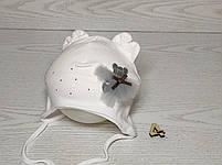 Шапка для девочки с медвежонком в юбке на завязках трикотажная Размер 40-42 см, фото 5