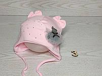 Шапка для девочки с медвежонком в юбке на завязках трикотажная Размер 40-42 см, фото 4