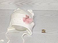 Шапка для девочки с медвежонком в юбке на завязках трикотажная Размер 40-42 см, фото 3