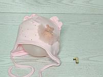 Шапка для девочки с медвежонком в юбке на завязках трикотажная Размер 40-42 см, фото 2