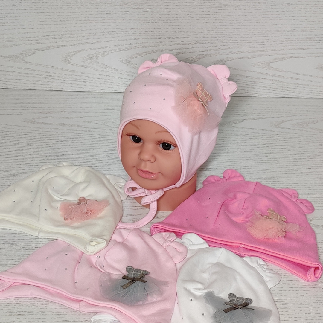 Шапка для девочки с медвежонком в юбке на завязках трикотажная Размер 40-42 см