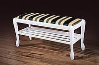 Банкетка Сиеста белая с полкой (900) (Микс-Мебель ТМ)