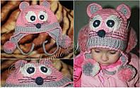 """Комплект вязаный шапочка + шарфик """"Рожеве мишеня"""""""