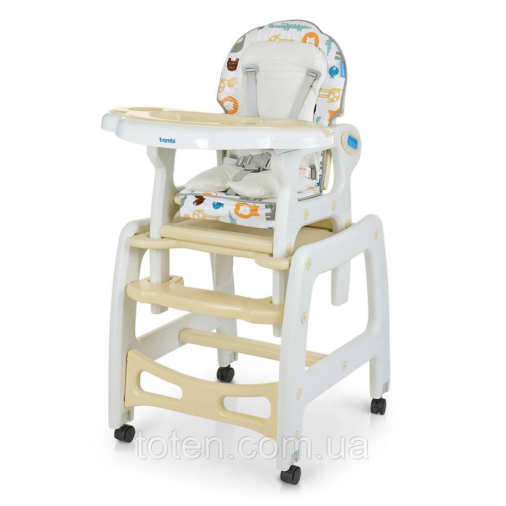 Cтульчик  для кормления, 2в1 столик со стульчиком, качалка,  ремень безопасности, M 1563 Animal Beige