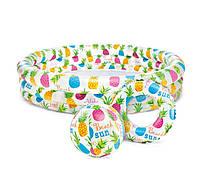 Детский надувной  бассейн Ананасы с кругом и надувным мячем  Intex 59469NP
