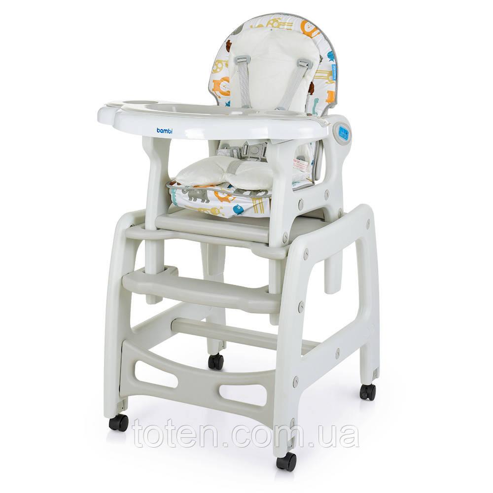 Стільчик для годування, 2в1 столик зі стільчиком, гойдалка, ремінь безпеки, M 1563 Animal Gray