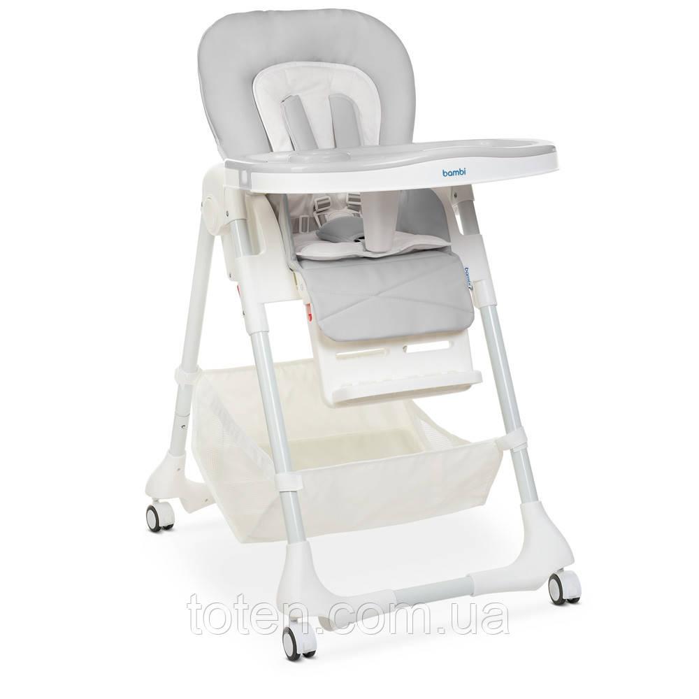 Дитячий стільчик для годування Bambi M 3822 Gray, сірий, 5точ.ремені, столик выдв. 4 колеса