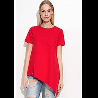 Блузка Диагональ креп шифон (Красный)