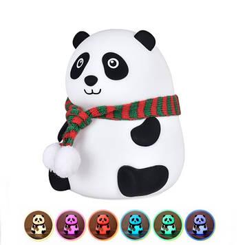 Детский силиконовый ночник панда с сенсорным управлением светильник  антистрес Белый