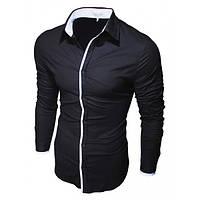 Рубашка черная приталеная 70001 (Черный)
