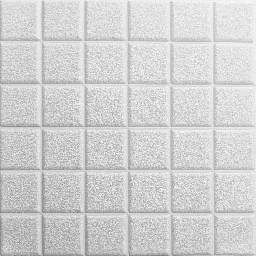 Потолочная 3д панель Белые квадраты самоклеющиеся 3d панели потолочная плита на потолок текстура 600x600x7 мм