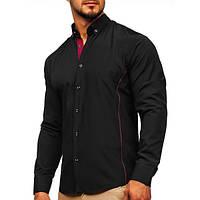 Мужская рубашка элегантная с длинным рукавом черно-бордовая (Черный)