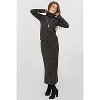 Костюм двойка: юбка миди и кофта кенгурушка, черный (Черный)