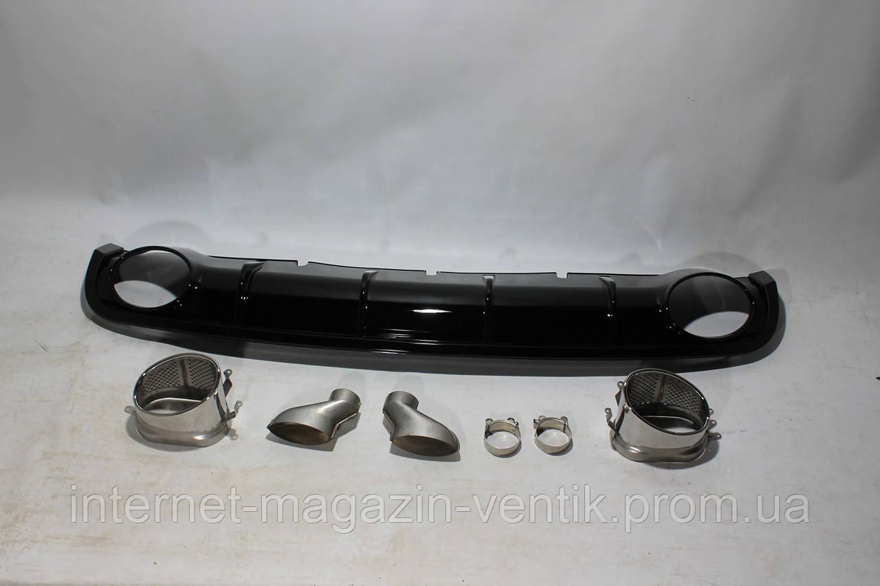 Диффузор заднего бампера Audi A6 RS6 Black 12-15